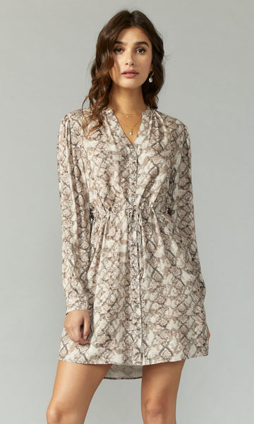 GREYLIN Sachi Snake Print Button Up Dress