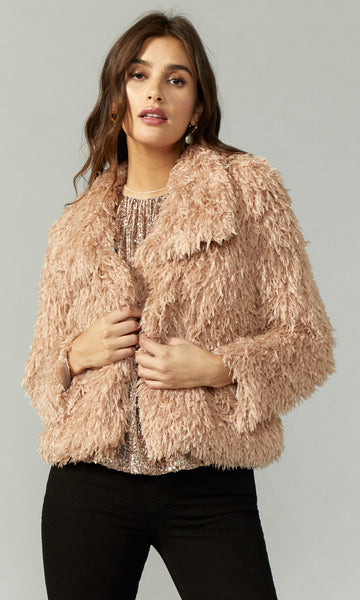 GREYLIN Faux Fur Feathery Jacket