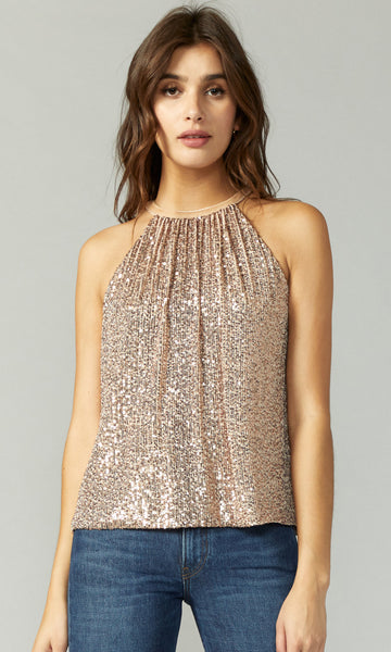 GREYLIN Nola Mini Sequins Halter Top