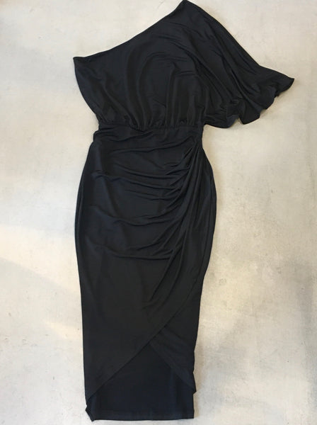 beauty + grace One Shoulder Pleat Dress