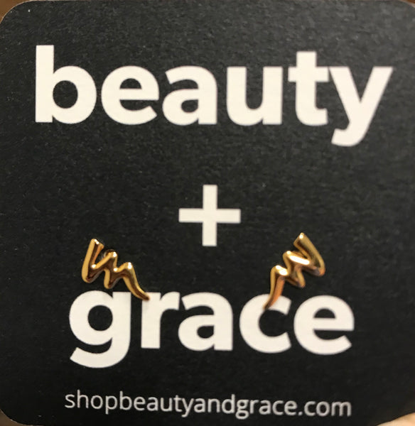 beauty + grace Squiggle Stud