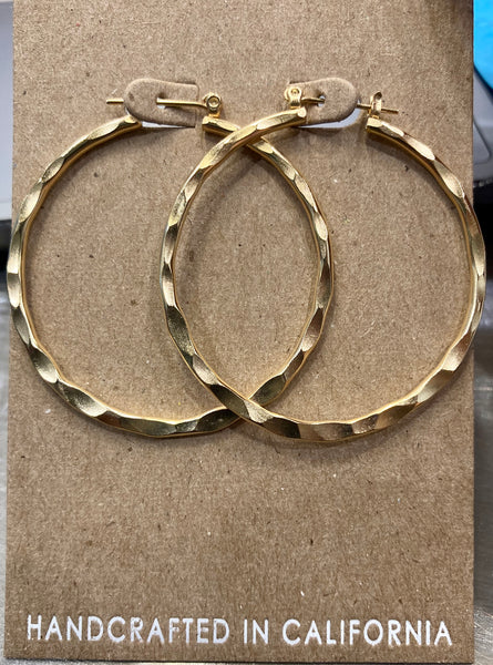 beauty + grace Medium Hammered Hoops