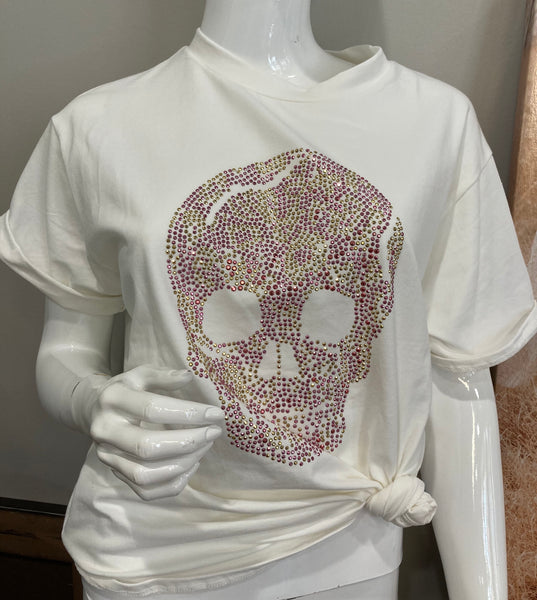 beauty + grace Rhinestone Skull Tee
