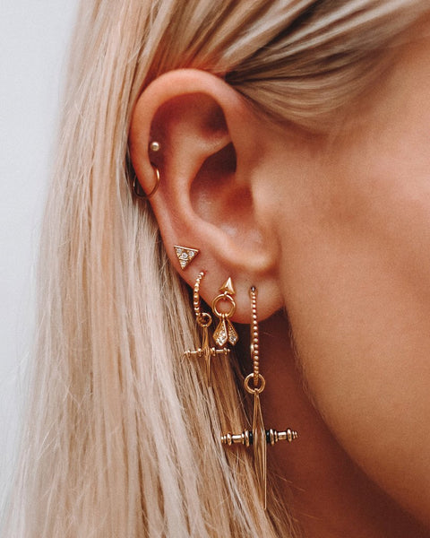 LUV AJ Mini Cross Hoops in Gold