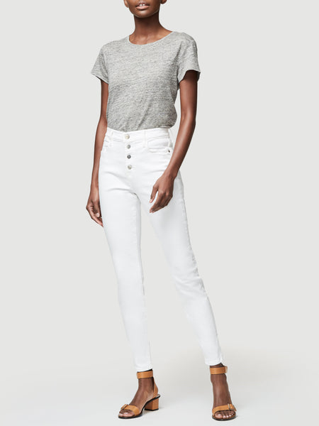 FRAME Le High Skinny Button Fly in Blanc Street