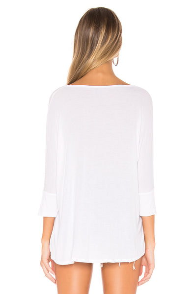 LAUREN MOSHI Sable Draped Tee w/Rose Gold Lightning Bolt in white