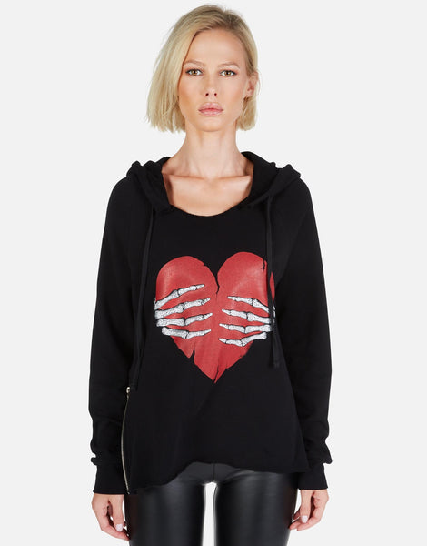 LAUREN MOSHI Crystal Skeleton Hand Heart Hoodie