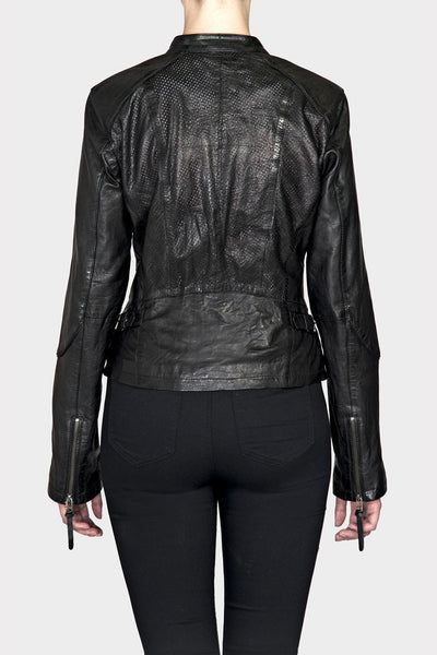 BANO EEMEE Lyon Leather Jacket in Black