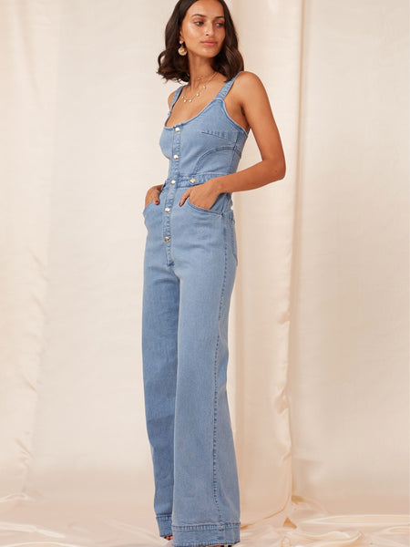 FINDERS KEEPERS Mia Denim Jumpsuit