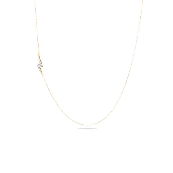 ADINA REYTER Tiny Pave Lightning Bolt Necklace in 14KY