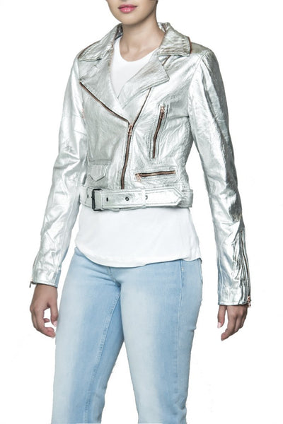 BANO eeMee Naz Silver Leasther Jacket