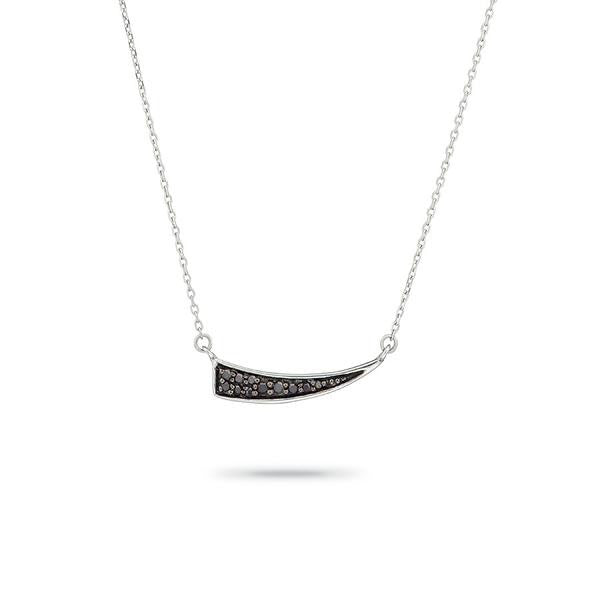 ADINA REYTER Small Pave Tusk Necklace in Silver with Black Diamonds