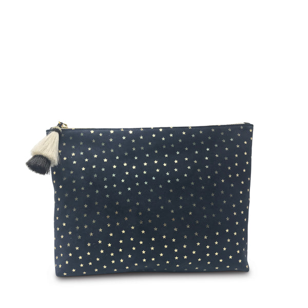 KEMPTON & CO Navy Suede Gold Foil Stars Medium Pouch