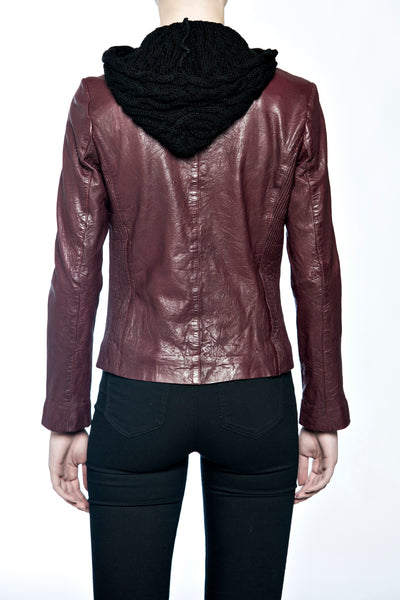 BANO EEMEE Peel Leather Jacket in Plum