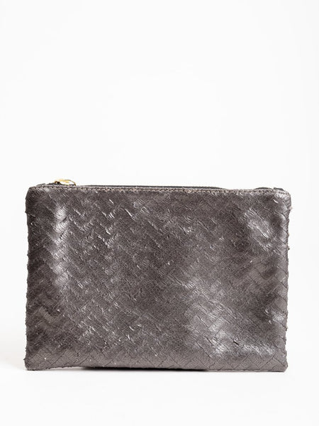 KEMPTON & CO PEWTER CHEVRON SMALL POUCH