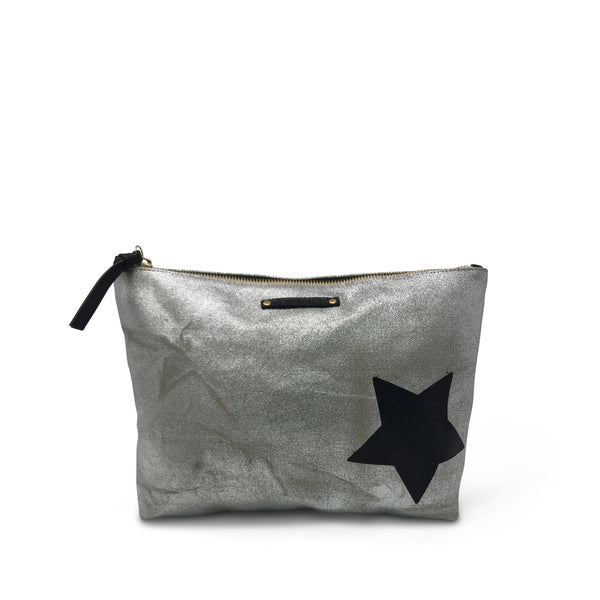 KEMPTON & CO Metallic Canvas Black Star Pouch in Silver/Black