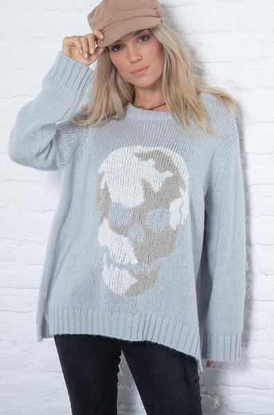 WOODEN SHIPS Camo Skull Sweater