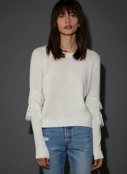 NATION LTD Ysabel Fringed Shrunken Crew Sweater
