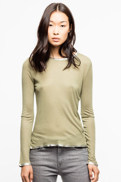 ZADIG & VOLTAIRE Willy Long Sleeve Tee in Kaki w Gold Foil