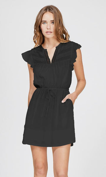 GREYLIN Lucia Lace Trim Tie Waist Dress