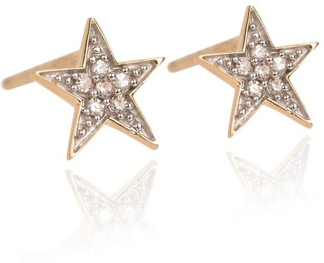 ADINA REYTER Tiny Solid Pave Star Posts