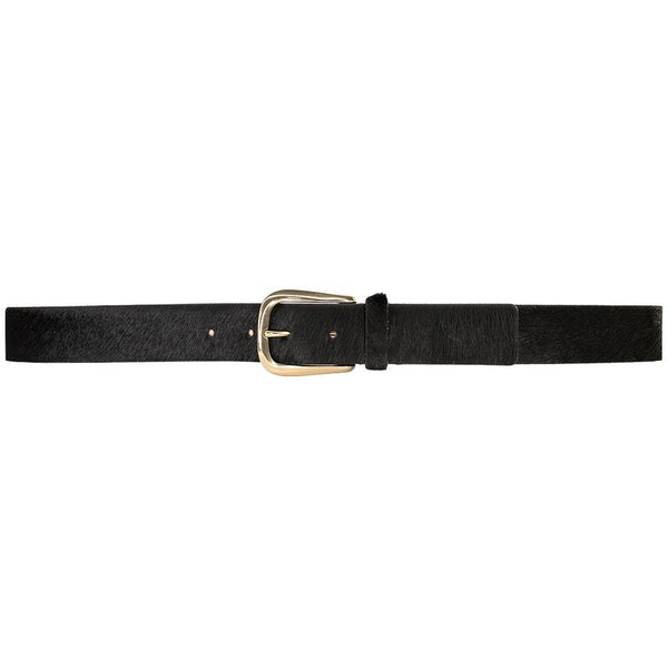 STREETS AHEAD Black Fur Belt with Gold Buckle
