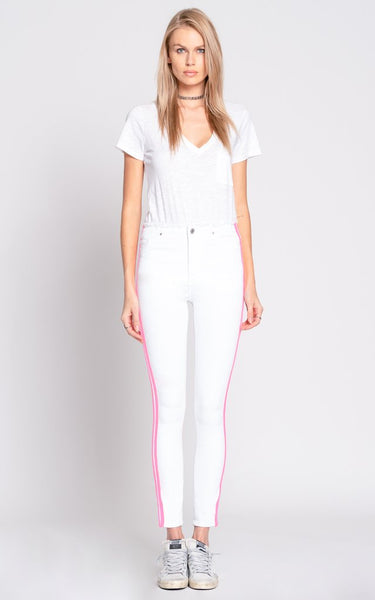 BLACK ORCHID Robin High Rise Frayed Skinny W/Racer Stripes