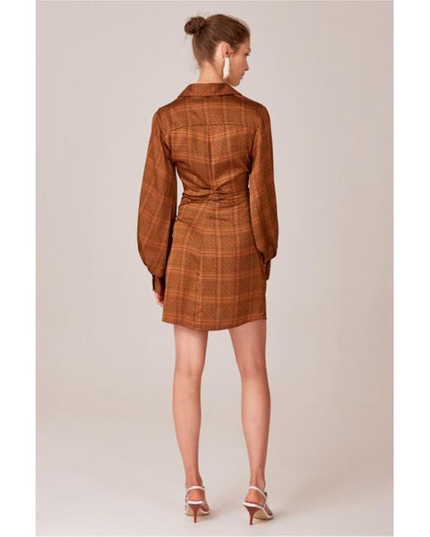 C/MEO No Time Dress in Copper Check