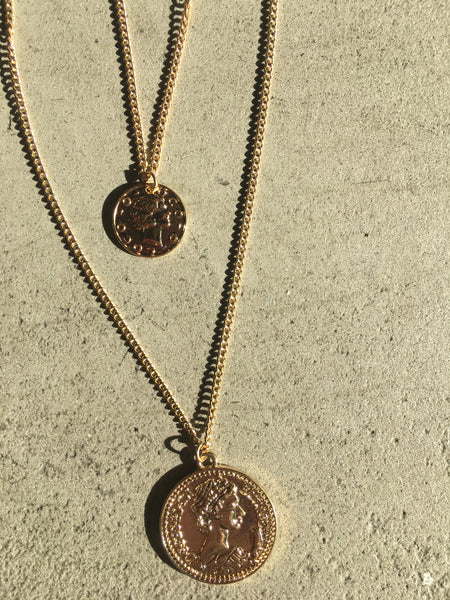 beauty + grace Retro Coin Pendant Necklace