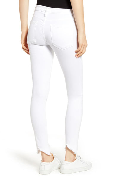 FRAME Le High Skinny Double Triangle Raw in Blanc