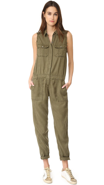 ETIENNE MARCEL Sleeveless Military Jumpsuit