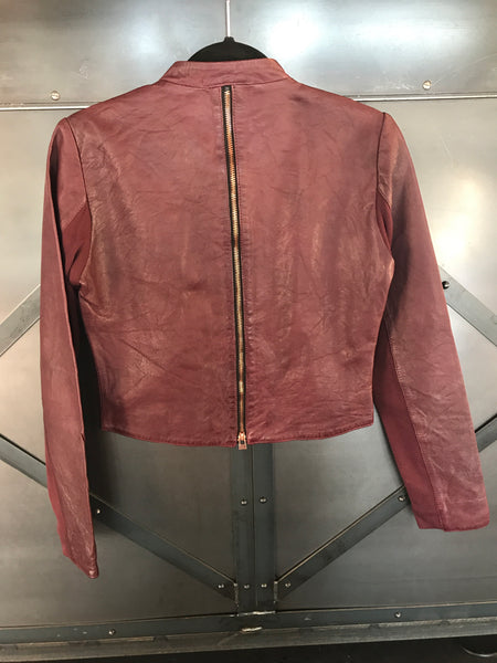 BANO EEMEE Liza Leather Jacket in Plum