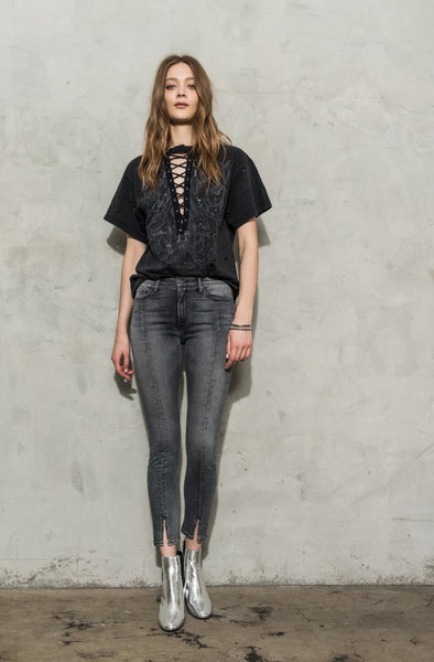 BLACK ORCHID Kendall Front Skinny Denim with Stud Hem