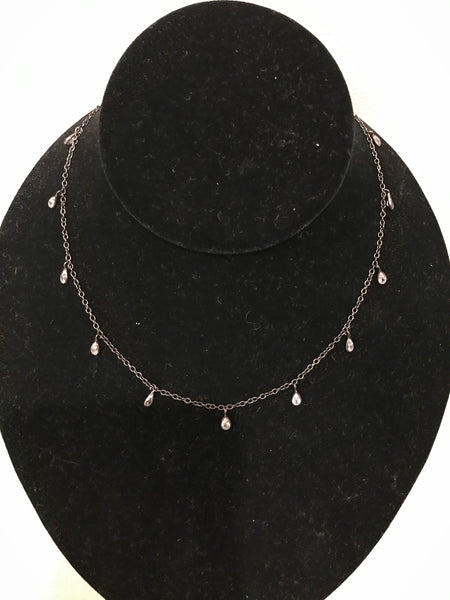 CINDY RISER Designs Pave Teardrop Necklace