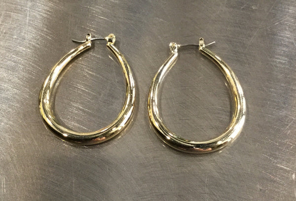 beauty + grace Gold Oval Hoops