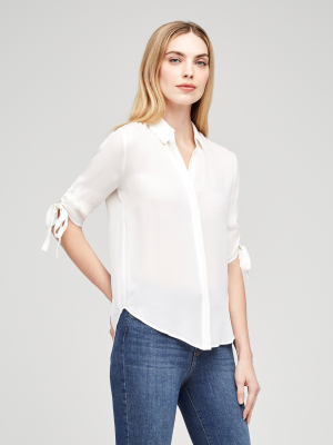 L'AGENCE Isa Shirred Sleeve Blouse in Ivory