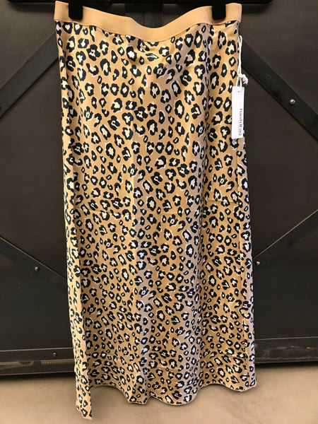 beauty + grace Leopard Satin Bias Skirt