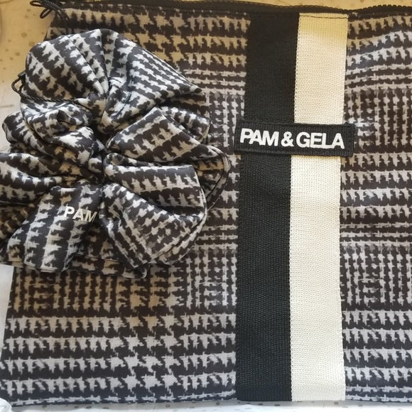 PAM & GELA Glen Tart Makeup Bag w/ Scrunchie