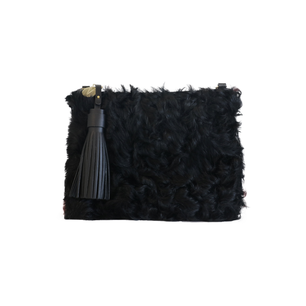 VASH Mickey Black Shaggy Clutch