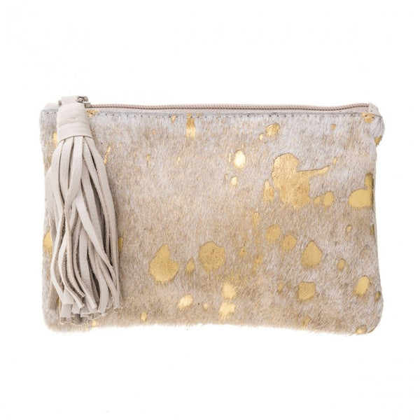 VASH Chloe Gold + Bone Clutch