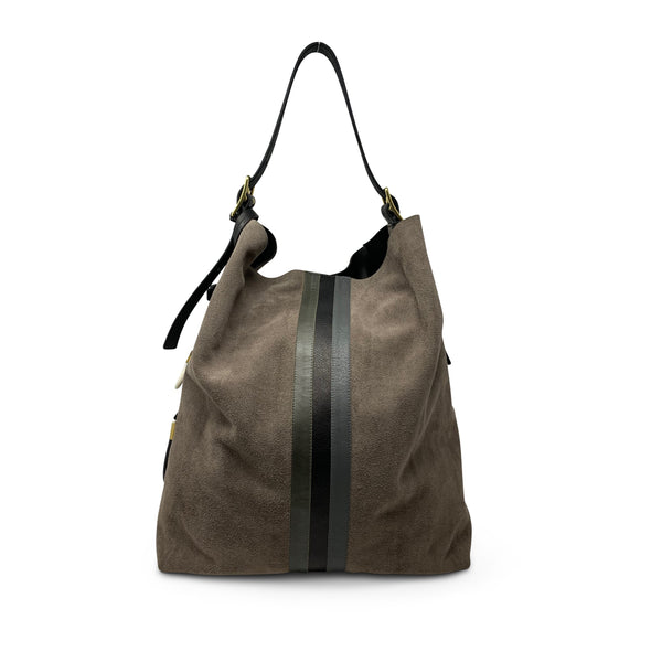 KEMPTON & CO Taupe Suede Somerset Hobo
