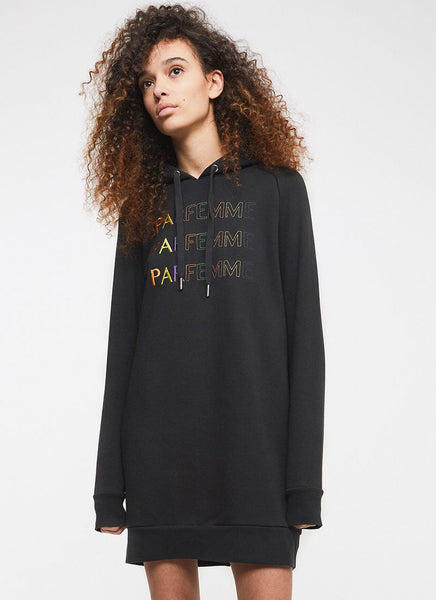 ZOE KARSSEN Embroidered Zip Sweater Dress