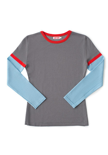 TERRA sweater in grey / light blue