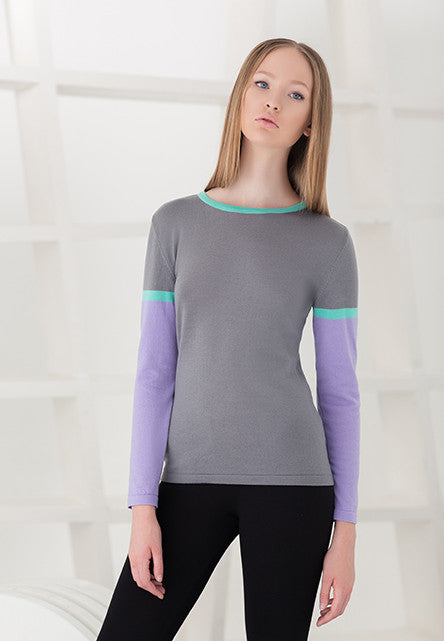TERRA sweater in grey / violet