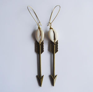 Cowrie Arrow Drop Earrings
