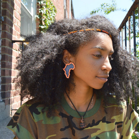 Africa I belong Studs Copper & Denim