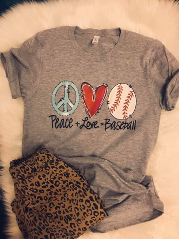 peace-love-baseball-Tshirt|All That Sparkles Boutique