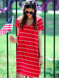 red-and-white-striped-vneck-dress | All that Sparkles Boutique