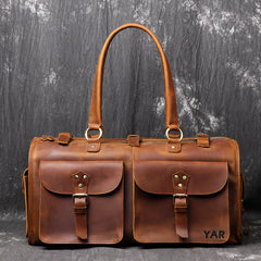 Man's Crazy Horse Leather Duffel Bag Tote Travel Bags Leather Bag