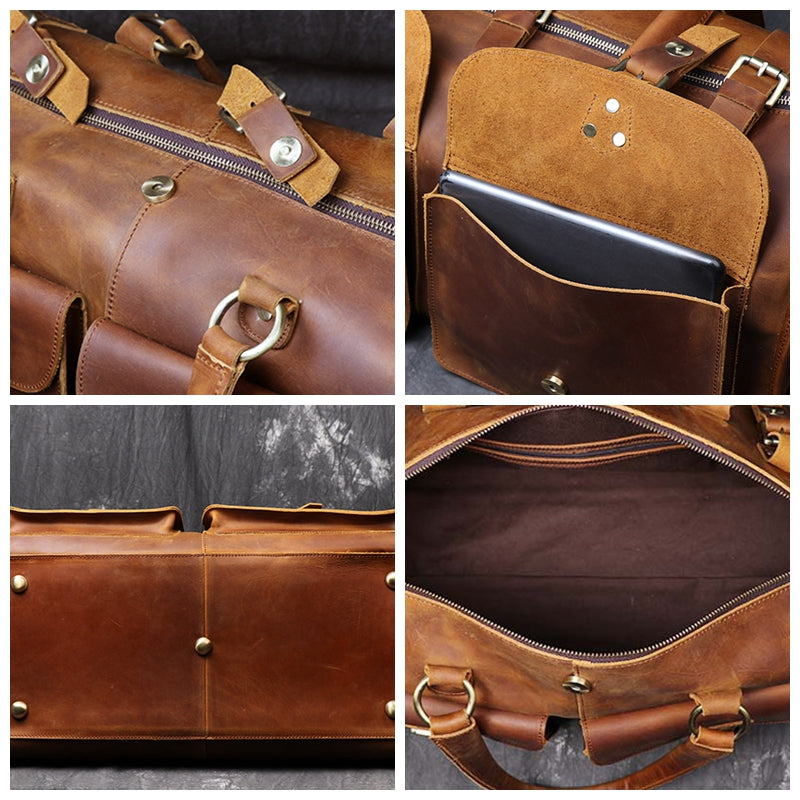 Man's Crazy Horse Leather Duffel Bag Tote Travel Bags Leather Bag - icambag